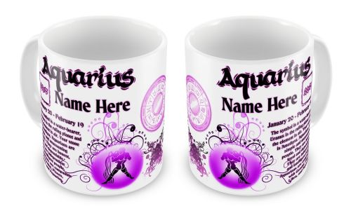 Personalised Any Name Zodiac Astrology Horoscope Star Sign Novelty Gift Mug - Pink